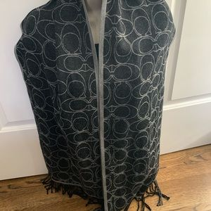 Coach signature black gray merino wool scarf